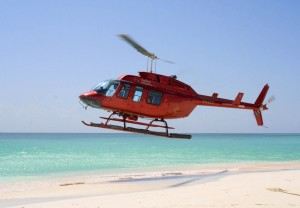 helicopter landing on beach