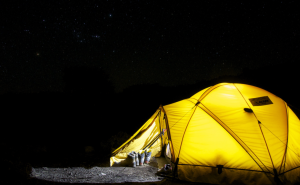 tent with light on